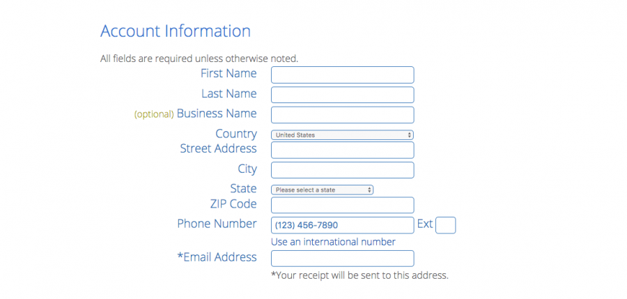 fill out account info for bluehost