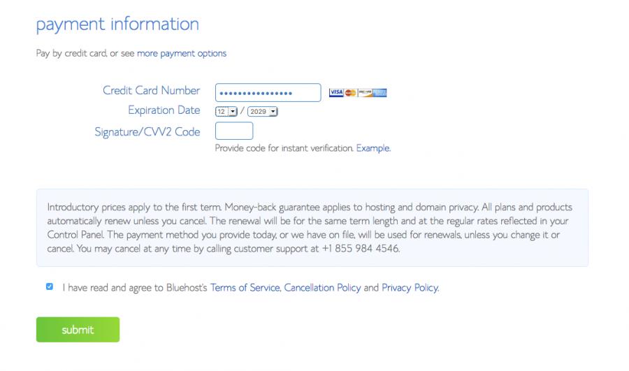 payment info to start a blog
