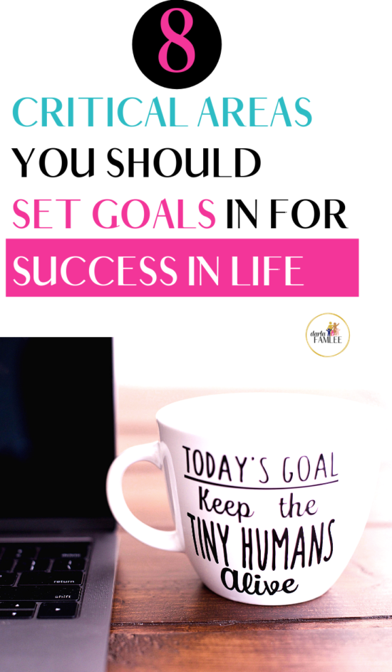 The best tips to set intentional goals in life for balance and success!How to set goals for different parts of your life. Most often when people think of setting goals they are usually personal or financial. You know..get a raise, pay off debt or lose weight. But how often do you set goals for different areas of your life? Did you know there's a total of 8 areas of your life that you can focus on setting goals. Learn how to balance each area of your life. #intentionalliving #setgoals #goalsetting #famleeoffour
