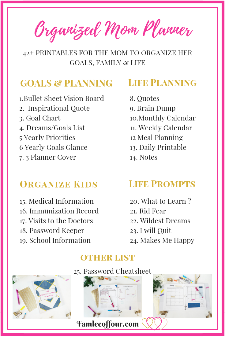 This 42+ pages pretty colorful planner is packed with printable for your all in one resource. Designed to help you organize your whole life, be inspired, stay motivated and inspirational quotes. It comes with a daily printable to tackle you day, weekly, and monthly printable to help you manage your life. Also, there must be a section to for big goals and dream!. Printable Planner| Mom Planner | Planner Quotes #dailyprintable #monthlycalendar #momplannerprintable