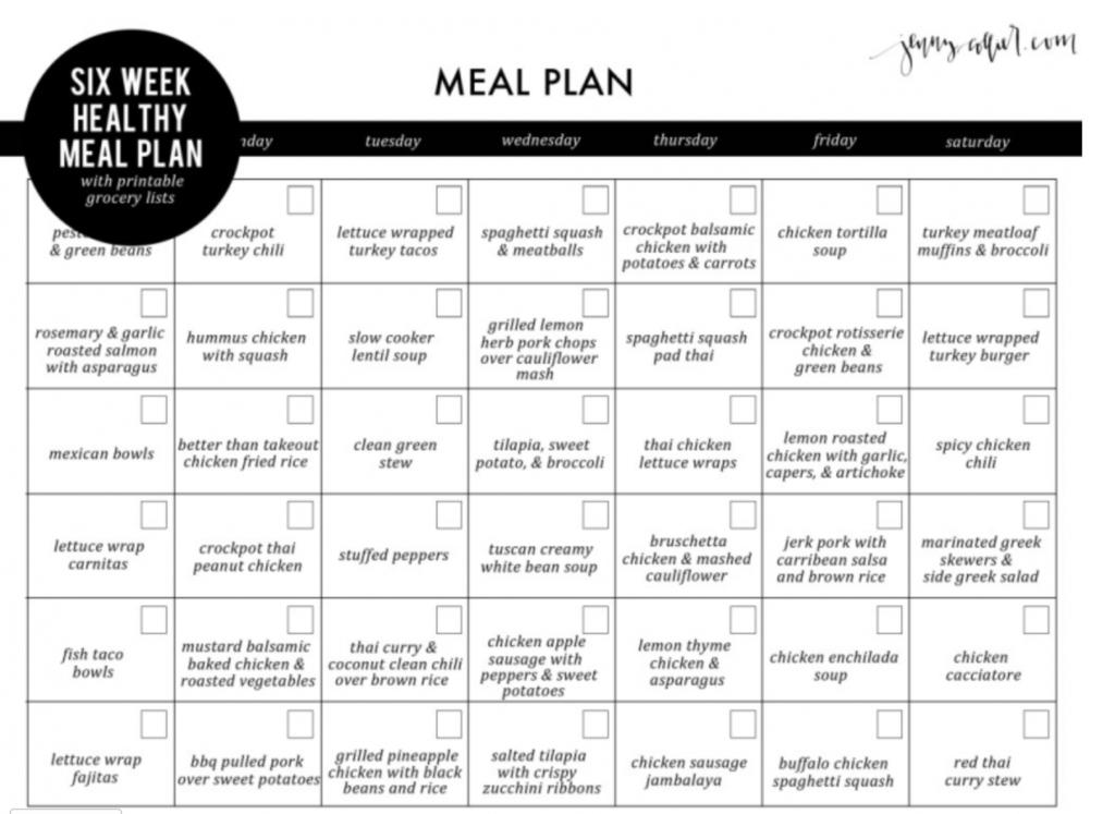 meal plan printable