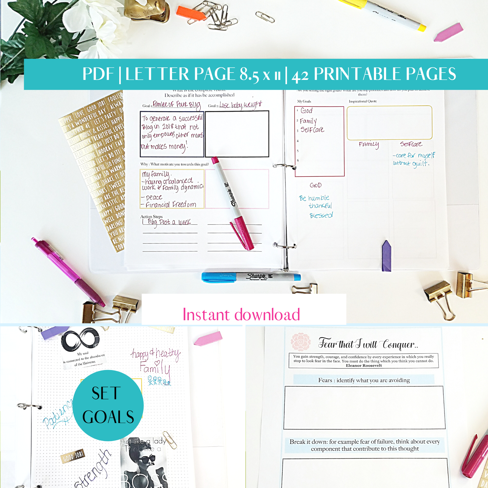 MOM PLANNER PDF LETTER PAGE 8.5 x 11 42 PRINTABLE PAGES 2