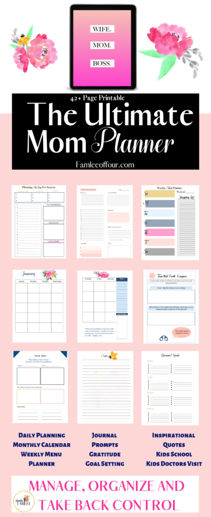 The perfect planner for the mom that needs a little motivation to stay focused on her goals and some inspirational quotes to keep her motivated. This is the best planner you will find to fit all your need, keep you organized and kids too. HOME BINDER| BEST PLANNER FOR MOMS| PLANNER WITH QUOTES| DAILY PRINTABLE PAGES| MEAL PLANNING| WEEKLY SPREAD| US LETTER
