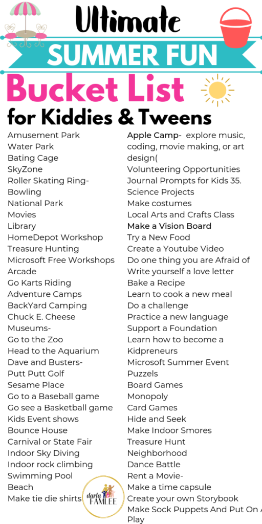 Free Printable summer bucket list with links to things to do this summer like Apple Camp, Microsoft Free summer camp, journal prompts for kids and workshops! Activities for everyone even babies.