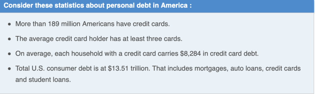understand how much debt we are in as a whole