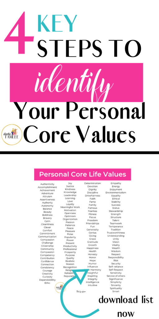 personal core values are important in Self Discovery, Self Love, Self Care, and Self Development.