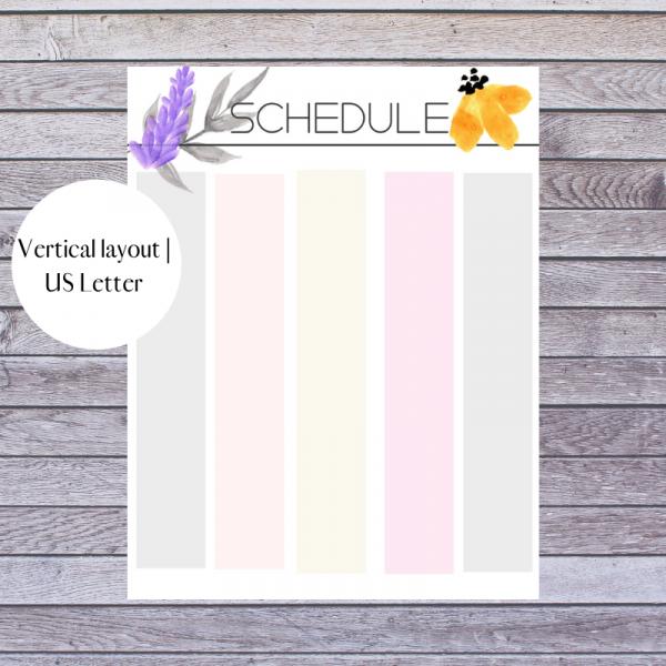 Floral Weekly Schedule Block schedule