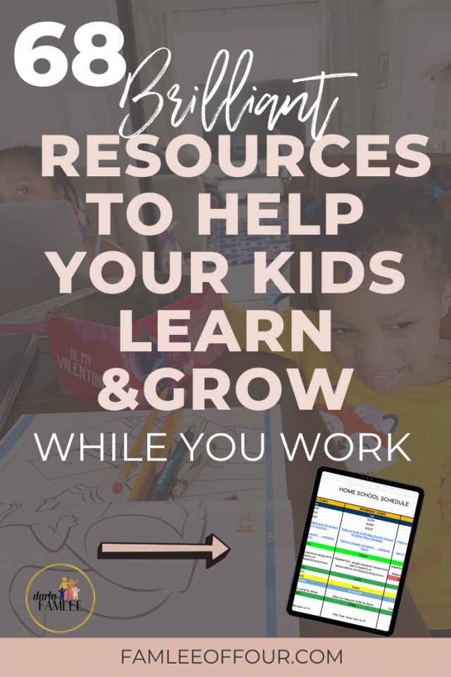 Time are hard and finding these kids things to do so you can get something done is harder. I was racking my brain trying to find the perfect schedule and things for kids to do. Finally, I just did the research and put my own spreadsheet together. Click through for the best resources to keep kids busy and learning at the same time. Working form home with kids, things for kids to do, keep kids occupied, things to do when bored