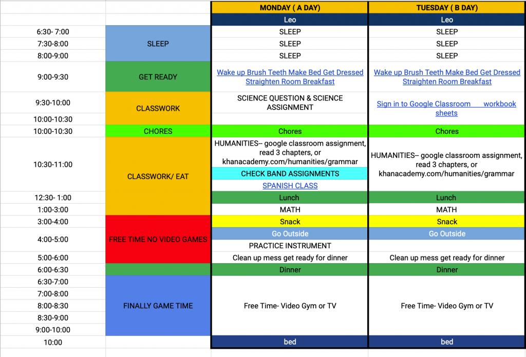 pre teen schedule