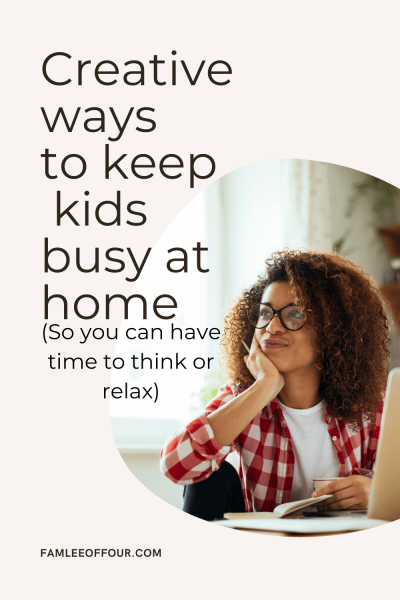 Moms sometimes we just need a break. I know we feel guilty for time alone but it important. Here is a list of ways to keep your kids busy at home... even the teens#boredombustersforkids #boredkids #indooractivitiesforkids #quarantineactivities#keepingkidsbusy #keepkidsbusy #coronovirus #kidsactivities #kidhacks #momhacks